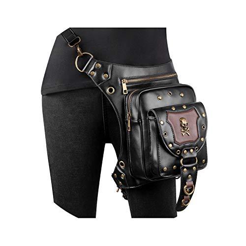 PU Leather Women Waist Bags Gothic Steampunk Drop leg Bag Men Punk Motorcycle Thigh Fanny Packs Shoulder Hip Belt Pouch,HG134
