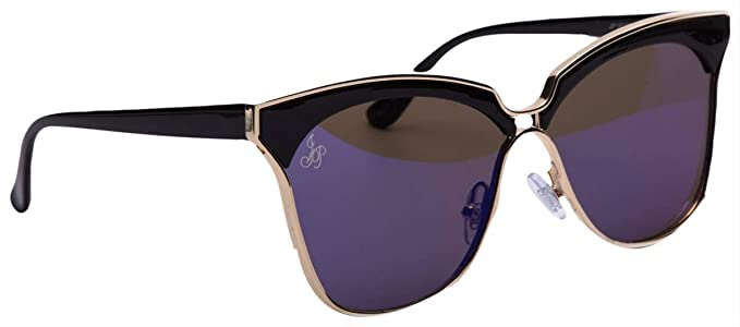 db89fca50c Jeepers Peepers Womens Cat Eye Sunglasses - Black Blue Gold  Amazon.co.uk   Clothing