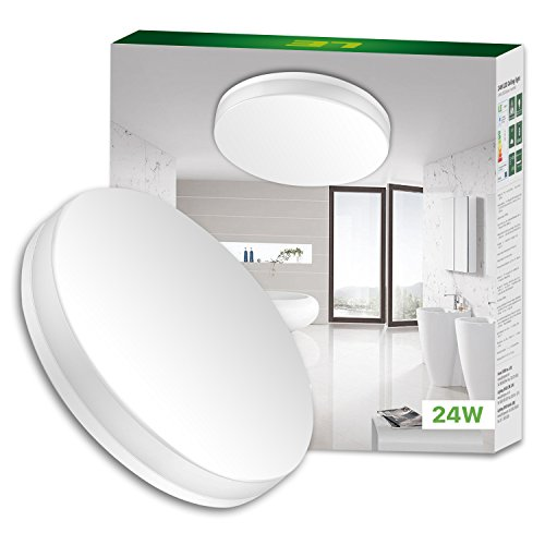 (LE Ceiling Light, 13 Inch LED Flush Mount Light Fixture, 24W (100W Equivalent), 2400 Lumen Non-dimmable, for Bathroom, Living Room, Bedroom, Kitchen and More, Daylight White)