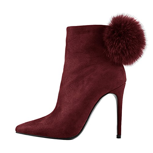 Booties for Dress Ankle Boots Red Heels Zipper onlymaker High Pointed Side Toe Women Poms Shoes Pom 8wqt7ICx