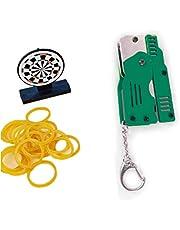 MAGELIYA Zinklegering Kleurrijke Metalen Mini Kan worden gevouwen als een sleutelhanger Rubber Band Guns Kids Gift Toy Zes Uitbarstingen van Rubber Speelgoed Guns