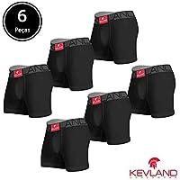 Cuecas Boxer Kevland - Kit Com 6 Peças ALGODÃO PRETO