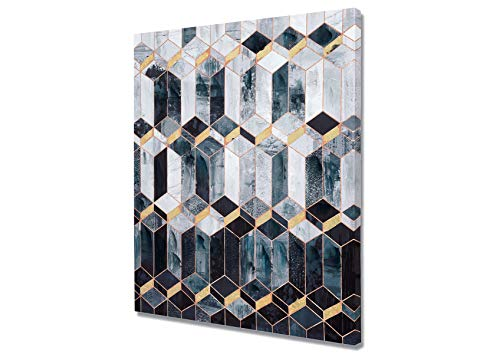 Fox Art Oil Paintings Modern Wall Art Abstract Painting Navy Blue Geometric Patterns with Gold Metallic Foil for Living Room Bedroom Stretched and Framed Ready to Hang 32x32 Inch