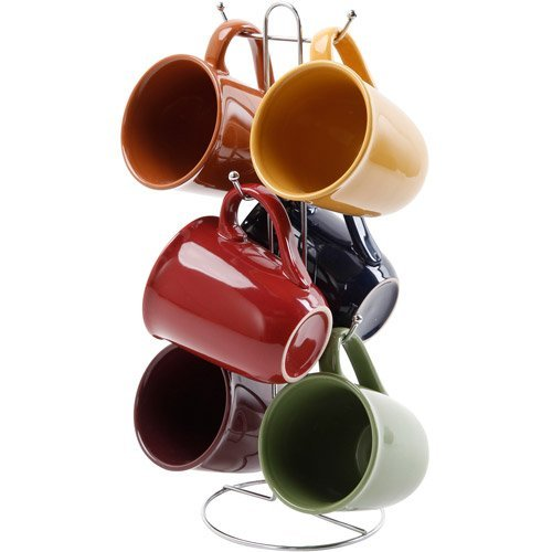 Gibson Contempo Hues 7 Piece 15-Ounce Mug Tree Set with 6 Assorted Colors 1 stand ()