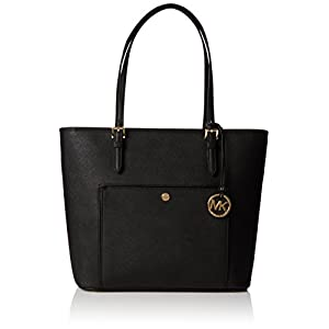 NEW AUTHENTIC MICHAEL KORS JET SET EW TZ TOTE HANBAG, Black, Large