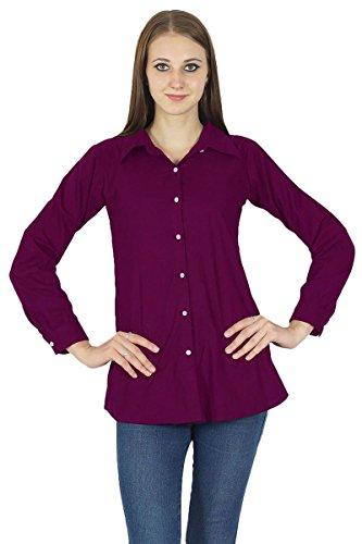 Button Longues Vtements Kurta Manches Down Prune Shirt Coton Top qRSFzR