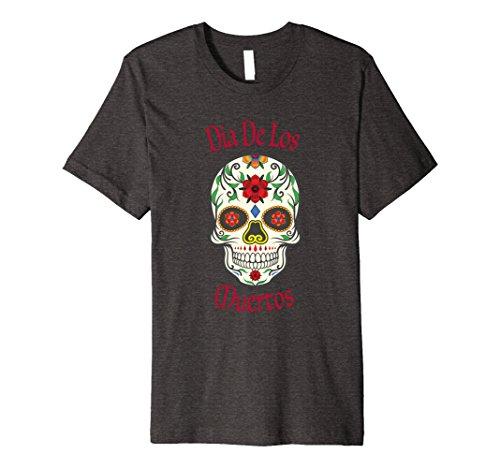 Mens Cinco De Mayo Sugar Skull T Shirt Day of the Dead Large Dark Heather -