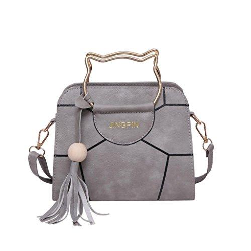 Women Handbag, Hunzed Cute Cat Bags Women Handle Bag Leather Purse Casual Handbag Crossbody Shoulder Bag (Gray)