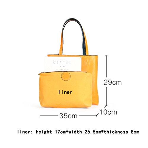 Simple Big Handbag Large Dual Shoulder Style Lady Bags Bag Tide Leather Portable Zcjb sided use Capacity Double 1 1 color vxPWq6g