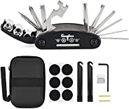 WOTOW Bike Repair Set Bag Bicycle Multi Function 16 in 1 Tool Kit Hex Key Wrench Tire Patch Lever (No Glue Inc