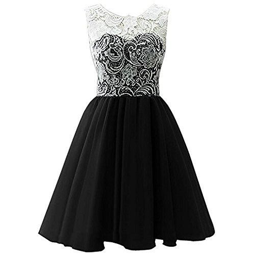 Vestido Puffy Niños black Vestido Falda XIU RONG Encaje Chiffon Niña wEnS5