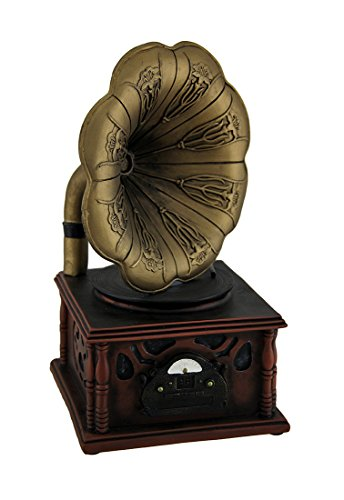 Zeckos Vintage Gramophone Bronze and Wood Finish Coin - Vintage Coin Bank