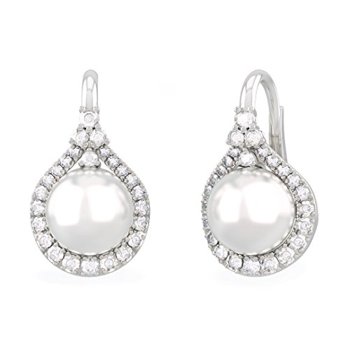 HYRIOS earrings in 18kt white gold and palladium with pearl and diamond for women - Baguette Cultured Pearl Earrings