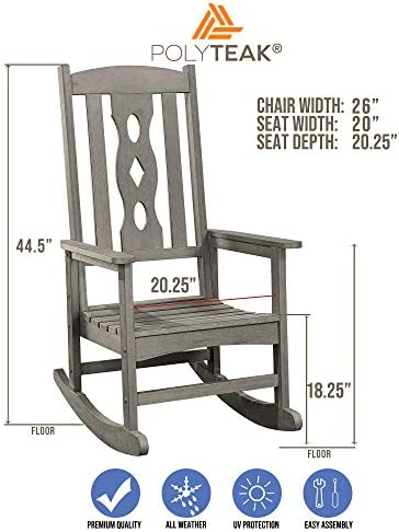 PolyTEAK Curved Poly Outdoor Rocking Chair, Stone Gray Adult-Size, Weather Resistant, Porch and Patio Rocker Made from Special Formulated Poly Lumber Plastic