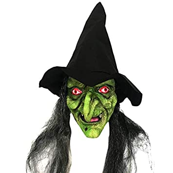 Ruikey Máscara de Bruja de Horror Traje de Halloween Máscara de Fiesta para Completa Accesorios de sombrerería para Adultos Cosplay