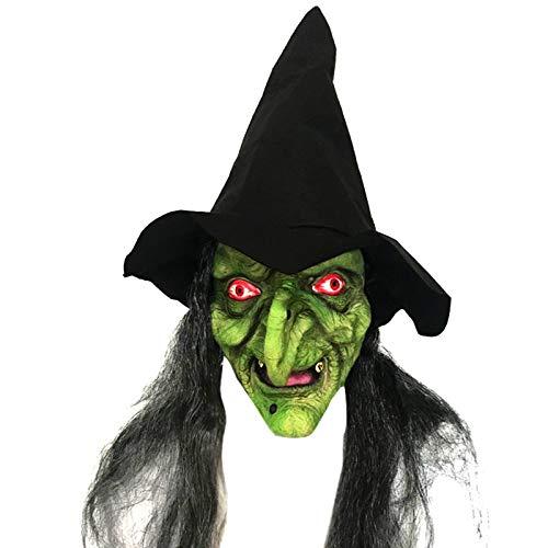 Emorias 1 Pcs Mascaras de Halloween Esqueleto Latex de Caucho Horror Cabeza Humana de Fiesta Careta - Bruja Verde