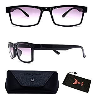 Unisex Men & Women Rectangular Square Shape Bifocal Sun Reader Sunglasses For Outdoor and Indoor Usage INCLUDED FREE: Hard Case + Cleaning Cloth