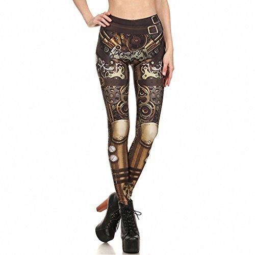 Fashion Leggings Women Steampunk leggin High Waist Mechanical Gear 3d Print Cosplay