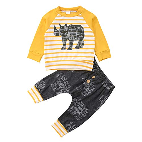 l Clothes Set Long Sleeve Cartoon Animal Striped Shirt+Long Pants 2Pcs Outfits Tacksuit ()