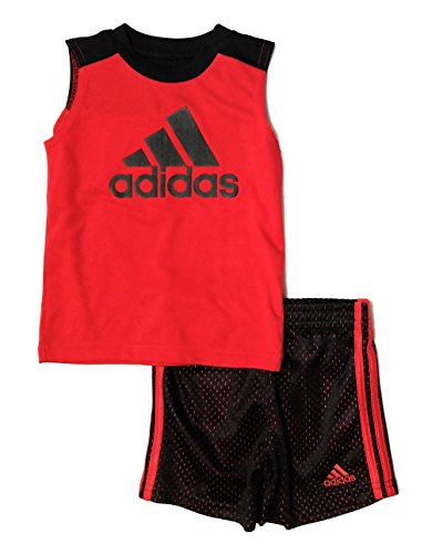 adidas Little Boys 2pc Tank Top and Mesh Shorts Set (Red, 24 Months)