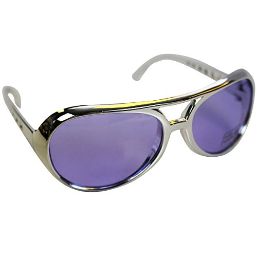 Rock Star Sunglasses - Lavender with a Silver Frame Rockstar Glasses by Funny Party - 1970 Glasses Frames