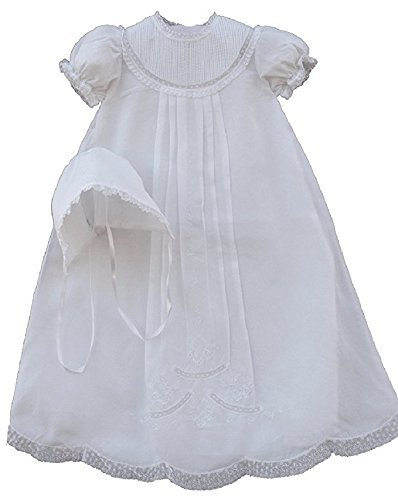 Feltman Brothers Christening - Feltman Brothers Infant Baby Girls White Christening Baptism Gown Bonnet-6M-9M