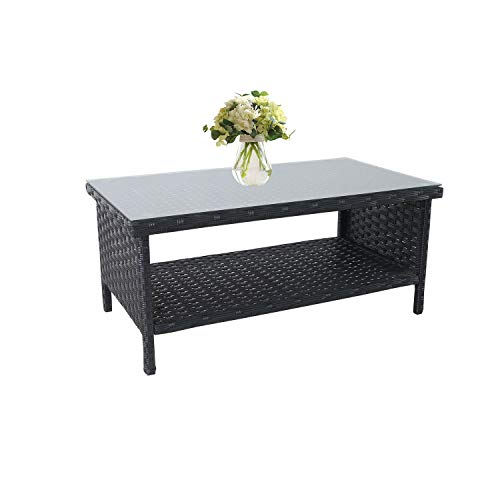 Outdoor PE Wicker Coffee Table - Patio Rattan Garden Side End Tea Table with Glass Top Furniture, Black (Table Glass Rattan Top Garden)