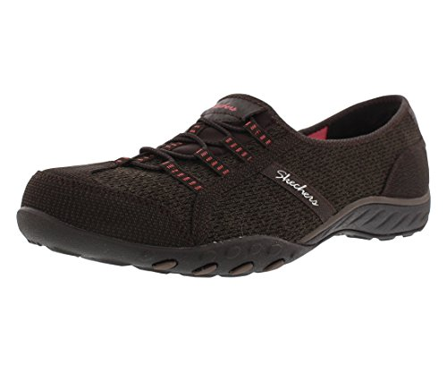 Skechers Sport Women's Breathe Easy Save The Day Fashion Sneaker,Chocolate/Taupe Mesh/Brown/Coral Trim,8.5 M US -