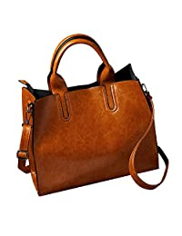 Clearance Sale ! Women Leather Handbags, Ladies Messenger Shoulder Bag Satchel Simple Fashion (Brown)