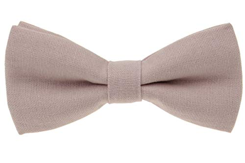 Mens Charm Solid Linen Pretied Bowtie - Various Colors (Pale Blush Pink)