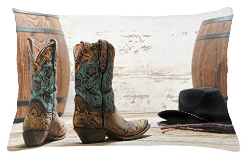 Lunarable Western Throw Pillow Cushion Cover, American Rodeo Theme Cowgirl Design Leather Boots Fancy Hat Rustic Picture, Decorative Accent Pillow Case, 26 W X 16 L Inches, Brown Teal Black