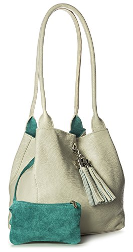 Size Two Shoulder Womens Beige Slouch with Leather Real One Medium Light amp; ELLA Suede Bag Reversible Turquoise in LIATALIA qfwCvC