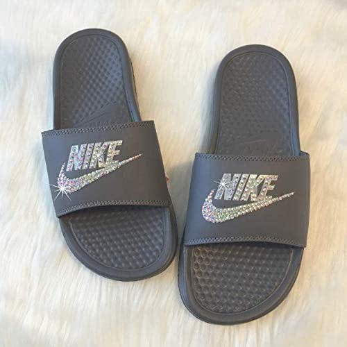 size 40 e2da6 ac24a Amazon.com: Bling NIKE SLIDES with Crystals GREY Women's ...