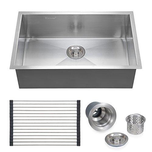 Voilamart 28'' x 18'' Single Bowl Handmade Stainless Steel Kitchen Sink 18 Gauge - Undermount Topmount Flushmount by Voilamart