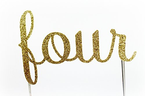 CMS Design Studio Handmade 4th Birthday Cake Topper Decoration - Four - Double Sided Gold Glitter Stock