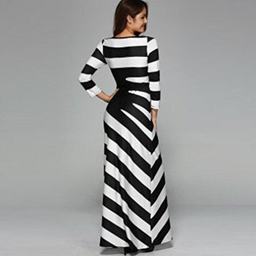 Damen AbendKleid Gestreift Maxikleid Yogogo Damen Party Club Kleider ...