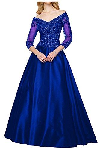 Lang Blau Braut Partykleider Royal Ausschnitt mia Schokobraun Hell La Spitze Brautmutterkleider Tief Ballkleider Abendkleider v qatUpT