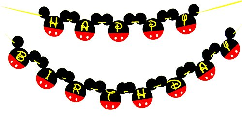 Mickey Mouse Birthday Banner | Mickey mouse Birthday Decorations | Happy Birthday Banner | Mickey mouse birthday | Mickey Mouse Party Supplies | Disney 1st birthday | Card Stock Banner -