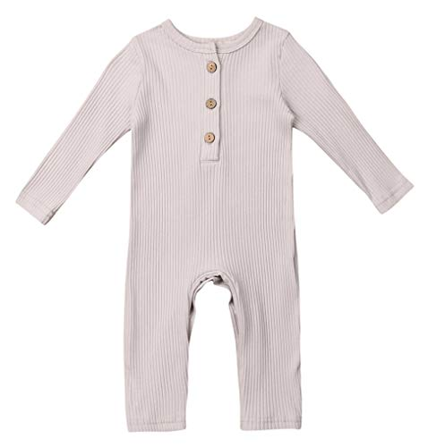 Emmababy Newborn Baby Girls Knitted Jumpsuit Basic Bodysuit Solid Sweater Long Sleeve Bodysuit Underwear (0-6M, Grey) from Emmababy