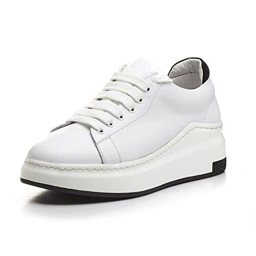 de Zapatos 37 Muffin Plano Shoelace Zapatos tacón Deportivos Tie de Mujer Zapatos de Color Zapatos Casuales Zapatillas de tamaño Ayuda de de Blanco Verano Mujer Zapatos Primavera de Baja f7rfPq