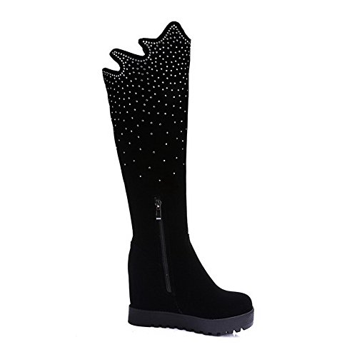 AmoonyFashion Womens Zipper High-Heels High Top Frosted Round Closed Toe Solid Boots, Black-Platform, 38