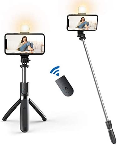 Selfie Stick with Fill Light, Extendable Selfie Stick Wireless Remote and 100cm Tripod, Portable, Lightweight, Compatible with iPhone 12/12PRO/iPhone 11/iPhone XR/Galaxy Note10/S20/Google/Huawei,More