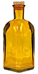 17 Ounce Square Yellow Olive Oil Bottle with Cork, Recycled Glass