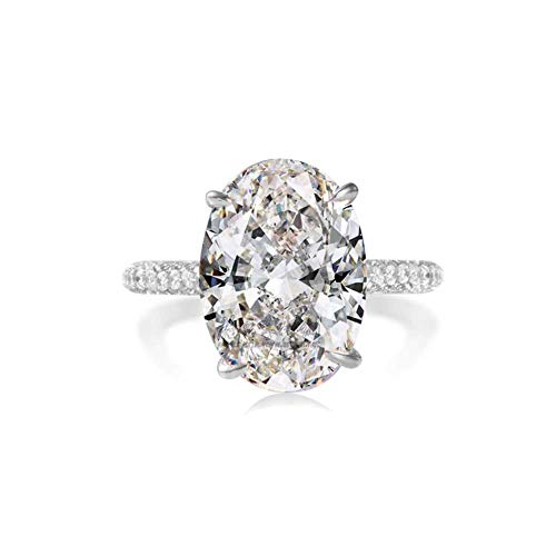 (LESFD Oval Cut 5ct Solitaire Cubic Zirconia Engagement Ring (6))