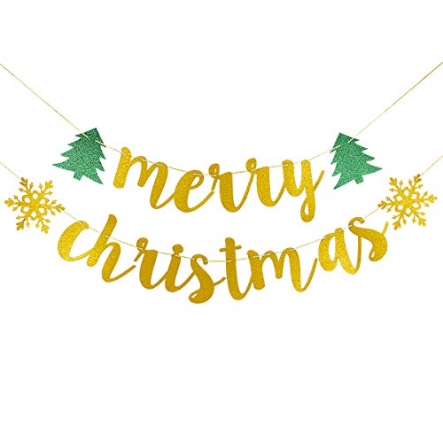 Gold Glittery Merry Christmas Banner-Christmas Party Holiday New Year Eve Party Home Decor