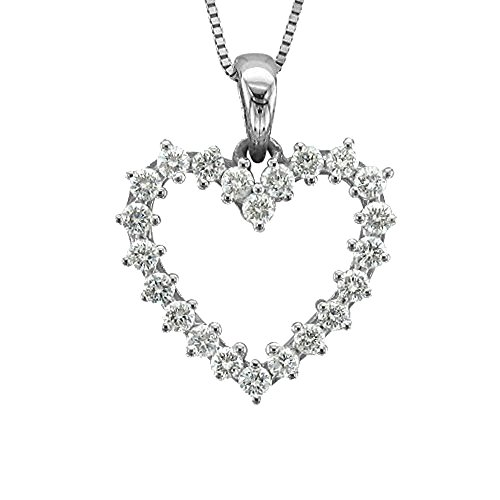 - 14k White Gold Heart Diamond Pendant Necklace (1/2 Carat) - IGI Certified