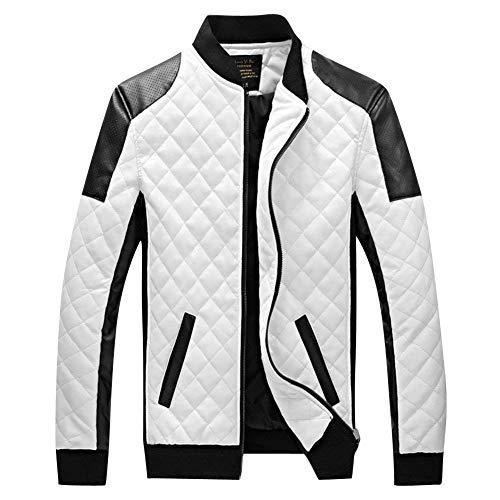 Coat Libero Per Colletto Bianca Tempo Moderna Il Moto Manica Slim Pelle Outwear Uomo Lunga Giacca Motociclista Geteppt Stand Cappotto In Da Fit PHq61wxtfW
