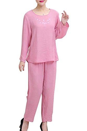 Notte Pigiama 2 Pigiama Da Donna Pezzi Guiran Set Pigiama Pink floreale Pigiama TYqfzwa