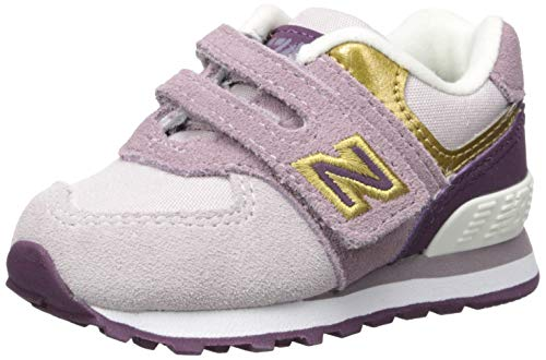 (New Balance Girls' Iconic 574 Hook and Loop Sneaker Light Cashmere/Dark Currant 7.5 W US Toddler )