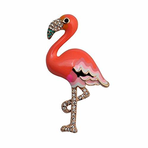 Gold Enamel Flamingo - W WOOGGE Woogge Women' s Brooch Gold Cute Enamel Crystal Flamingo Bird Brooch Animal Brooches Pins Scarf Clips in Crystal For Women